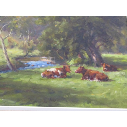 1563 - Charles McAuley RUA 1910 - 1999 Cattle by River Oil on Canvas 14 Inches High x 18 Inches Wide Signed...