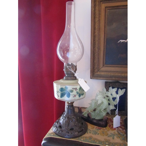 1564 - Antique Oil Lamp with Painted Well and Shaped Lantern Approximately 25 Inches High...