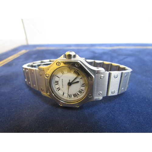 425 - Ladies Cartier Santos Wristwatch with Cabochon Cut Sapphire Mounted Winder Articulated Bracelet Good...