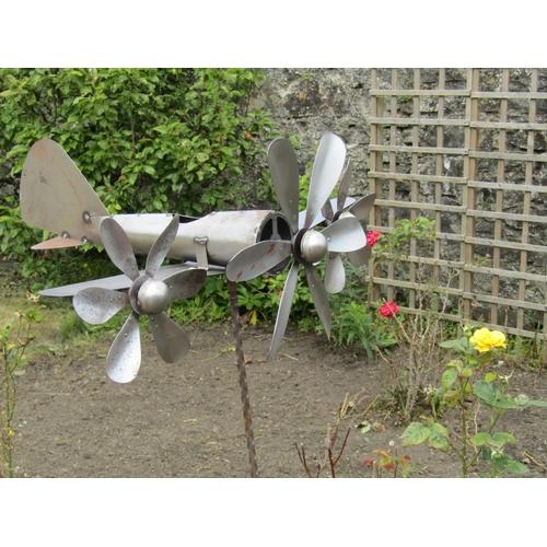 Aeronautical Motif Wind Vane Aluminium and Iron Approximately 5ft High