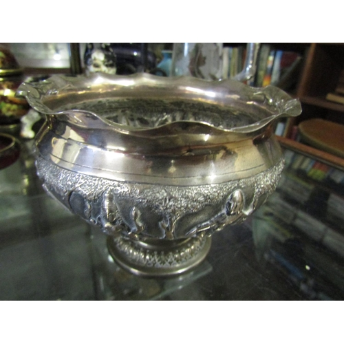 Antique Solid Silver Pedestal Form Bowl with Figural and Landscape Decoration to Frieze Approximately 5 Inches Diameter