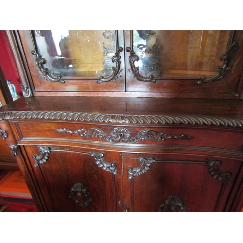 810 - William IV Figured Rosewood Two Door Bookcase Glazed Upper Section Cupboard Below Further Carved Dec...