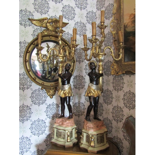 811 - Pair of Gilt Decorated Blackamoor Table Chandeliers Electrified Working Order Each Approximately 34 ...