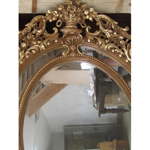 1008 - Very Large Gilt Decorated Oval Form Mirror with Upper Cartouche and Putti Side Decoration Approximat...