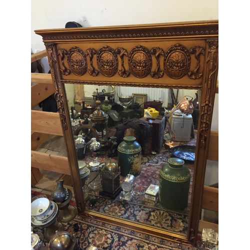 Gilded Wall Mirror with Upper Decorated Frieze Approximately 4ft High x 2ft 4 Inches Wide