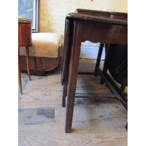 362 - Solid Mahogany Drop Leaf Table with Chamfered Supports Approximately 40 Inches Wide Leafs Descended ...