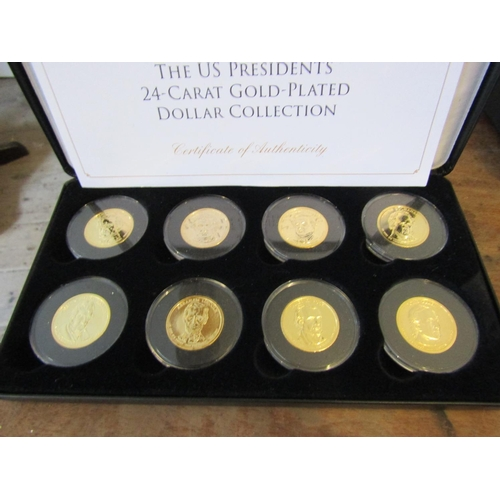 US Presidents 24 Carat Gold Plated Dollar Collection Contained within Original Presentation Case Each Coin Encapsulated with Original Paperwork Eight in Collection