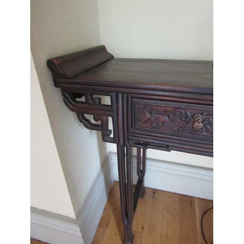 41 - Chinese Carved Hardwood Alter Table Twin Drawers above Well Carved Supports Approximately 4ft Wide x...