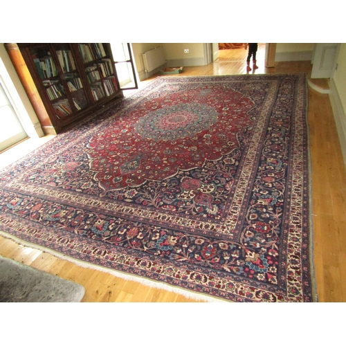 42 - Very Large Antique Persian Pure Wool Carpet with Patterned Borders and Central Medallion Motifs Appr...
