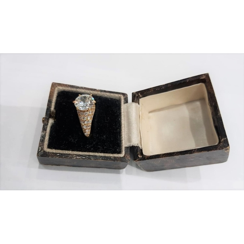 102 - Diamond Solitaire Ring Mounted on 18 Carat Yellow Gold Band with Further Diamond Decoration Circa 19...