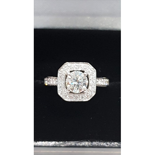 103 - Diamond Target Set Canted Corner Ring with Further Diamond Decorated Inset Bands Platinum Mounted Ce...
