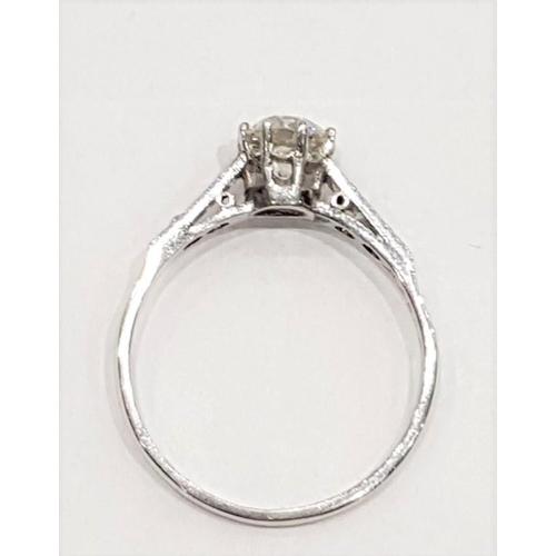 104 - Centre Stone Diamond Ring with Decorated Band Platinum Set on 18 Carat White Gold Band Diamonds to S...