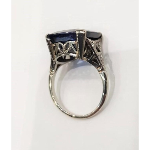 105 - Ladies Sapphire Dress Ring Art Deco with Diamond Decorated Shoulders Set in Four Claw Setting Mounte...