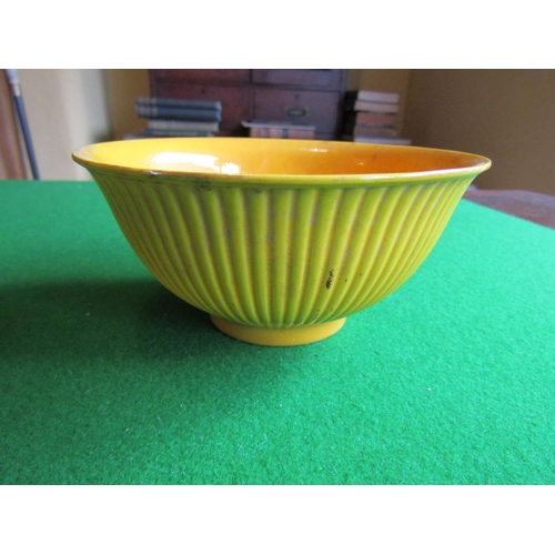 106 - Yellow Ground Chinese Porcelain Bowl with Unusual Ribbed Decoration to Frieze  Approximately 5 Inche...