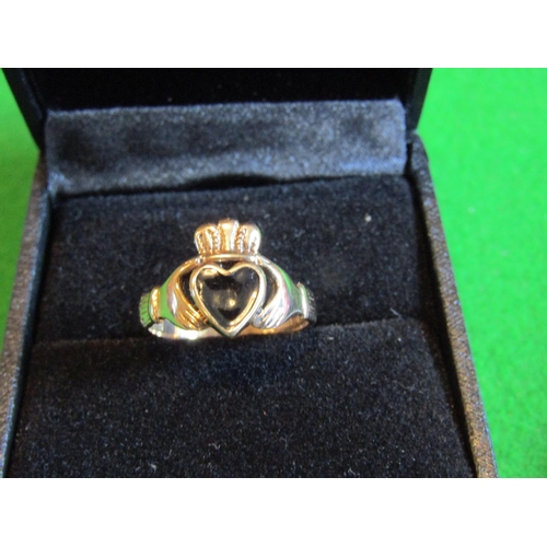 Claddagh Ring 9 Carat Yellow Gold with Enamel Heart Motif Centre Decoration Size M and a Half