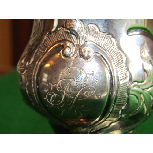 275 - Antique Solid Silver Cream Jug Pedestal Form on Turned Base Shaped Form Handle Approximately 5 Inche...