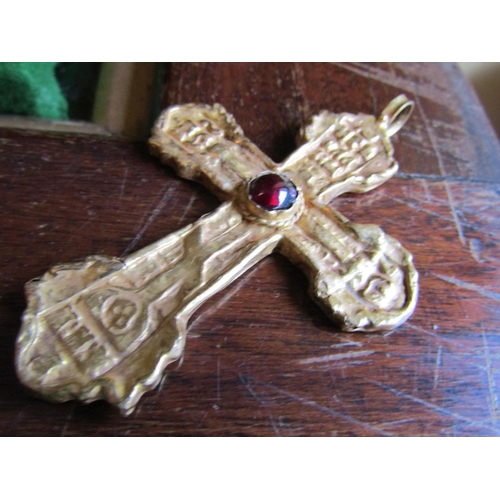 276 - Ancient Sixteenth Century or Earlier Byzantine Solid Gold Cross with Cabochon Cut Stone Skull and Cr...