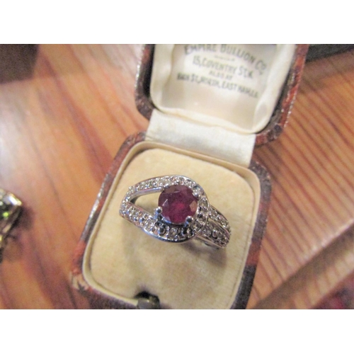 277 - Ruby and Diamond Ladies Ring Mounted on Silver Gilded Band...