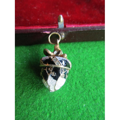 Russian Silver Enamel Decorated Egg Form Pendant