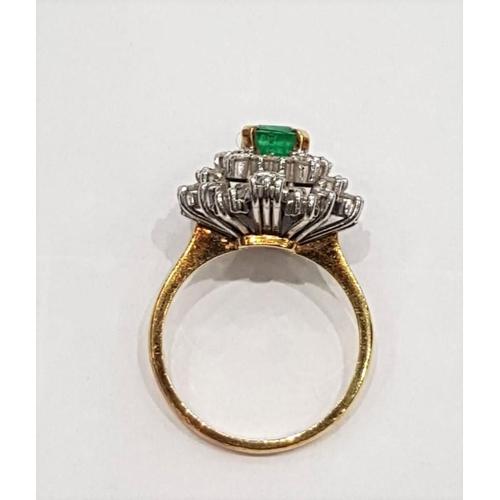 301 - Columbian Emerald Ladies Cluster Diamond Ring Circa. 1980 Set in White Gold  Mounted on 18 Carat Yel...