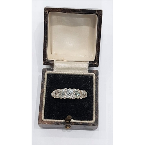 302 - Victorian Five Stone Diamond Ladies Ring Circa. 1900 Approximately 2.5 Carats Total Weight Ring Size...