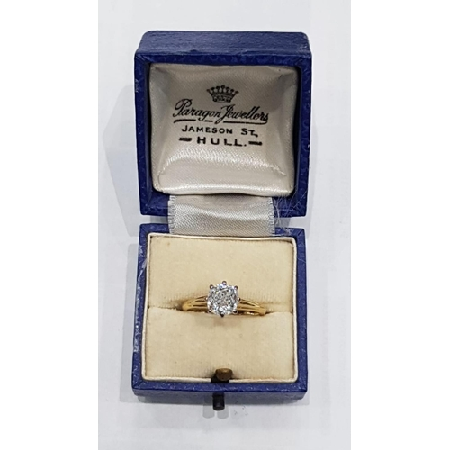 303 - Victorian Diamond Solitaire Ring Mounted on 18 Carat Yellow Gold Cushion Cut Centre Stone Approximat...