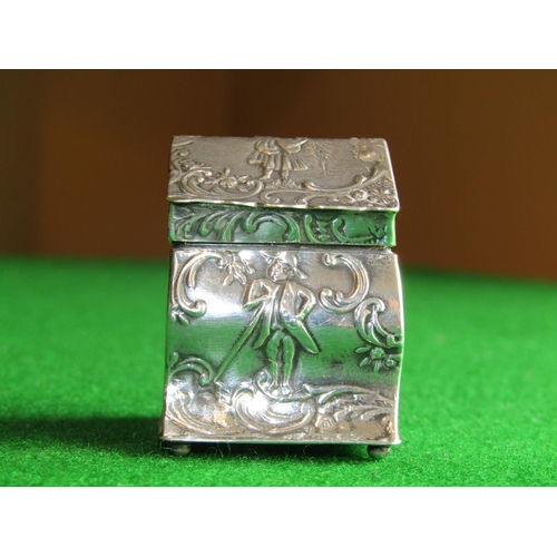 Solid Silver Figural Decorated Hinge Top Pill Box with Sporting Gentlemen to Tops and Sides