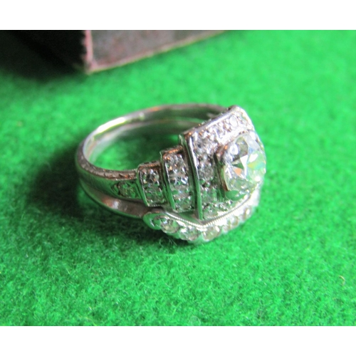85 - Art Deco Diamond Cluster Ladies Ring Centrestone Approximately .8 Carat Attractive Colour Mounted on...