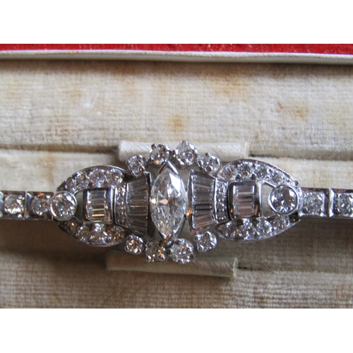 86 - Platinum Mounted Art Deco Ladies Diamond Bracelet of Articulated Form and Good Colour Various Old Cu...