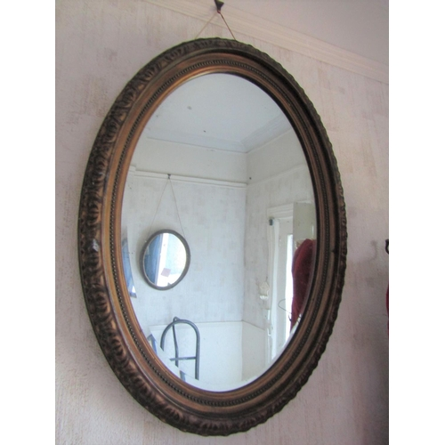 1 - Antique Gilded Wall Mirror Oval Form Approximately 26 Inches High...