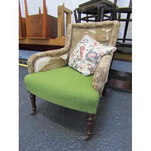 William IV Upholstered Armchair on Turned Supports with Cushion Peacock Motif