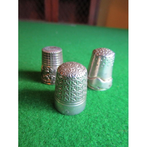 Three Antique Silver Sewing Thimbles