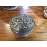 Antique Chinese Circular Form Pill Box with Dragon Motif Decoration Approximately 3 Inches Diameter