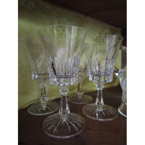 13 - Four Waterford Crystal Wine Goblets, Waterford Crystal Table Ringer and Waterford Crystal Jug Six It...