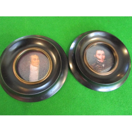 Pair of Portrait Miniatures Regency Gentleman Contained within Ebonised and Gilded Circular Form Frames Each Approximately 5 Inches diameter