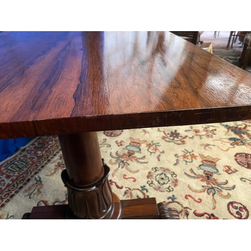 1324 - William IV Rosewood Library Table with Carved Frieze above Further Well Carved End Supports Terminat...