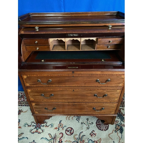 1325 - Victorian Figured Mahogany Satinwood Inlaid and Crossbanded Cylinder Top Desk with Pullout Writing S...