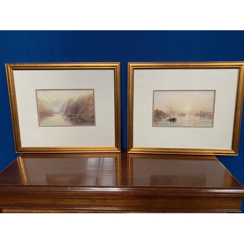 Pair of Victorian Watercolours River Scenes with Boats and Castles Beyond Each Approximately 14 Inches High x 18 Inches Wide Signature to Verso