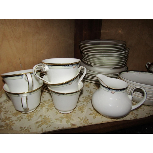 15 - Shelf of Various Porcelain Part Dinner Service Including Soup and Dinner Plates with Cups, Saucers, ...