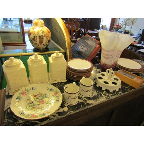 154 - Quantity of Various Porcelain Including Coffee, Sugar and Tea Canisters with Aynsley Serving Dish an...
