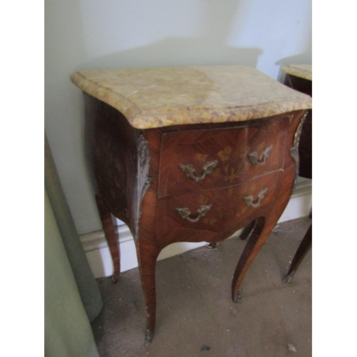 156 - Pair of Kingswood Marble Top Side Lockers Ormolu Mounted Each Approximately 14 Inches Wide x 30 Inch...