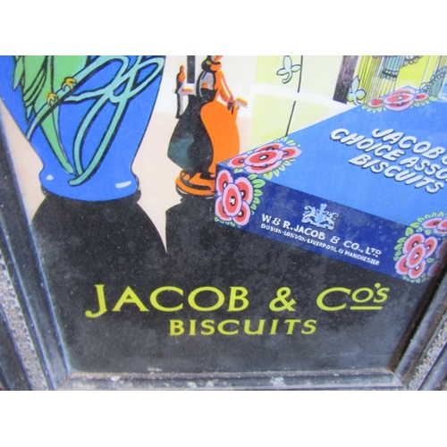 16 - Jacob and Co's Biscuit Old Advertising Sign Mirrored Painted Glass Edwardian Contained within Origin...