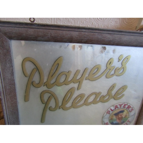 17 - Edwardian Players Please Advertising Mirror Contained within Original Frame Approximately 16 Inches ...