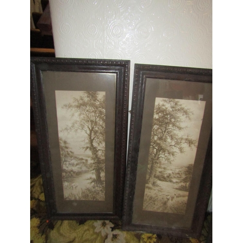 19 - Set of Three Edwardian Engravings with Another Largest Approximately 32 Inches High x 12 Inches Wide...