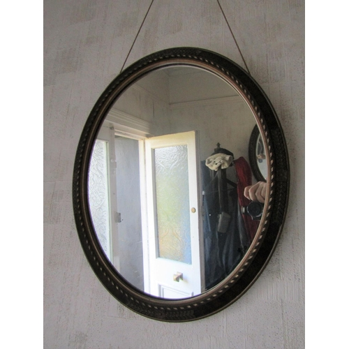 2 - Edwardian Gilded Mirror Oval Form Approximately 25 Inches High...
