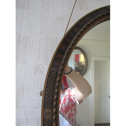 2 - Edwardian Gilded Mirror Oval Form Approximately 25 Inches High