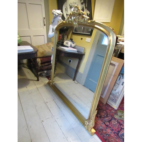 201 - Carved Giltwood Overmantle Mirror with Upper Cartouche Decoration Approximately 5ft High x 4ft 10 In...