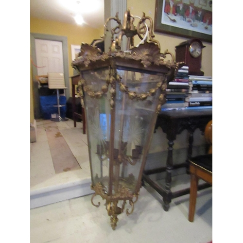 203 - Very Large and Imposing Gilded and Cast Brass Ceiling Lantern Hexagonal Form Engraved Panel Decorati...