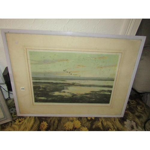 24 - Three Old Prints Including Dramatic Death Scene and Peter Scott Wildlife Lithograph Largest Approxim...