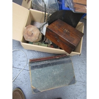 Box of Various Items Including Stationery Box and Tea Canister with Old Ledgers, Mortar and Pestle etc Quantity As Photographed